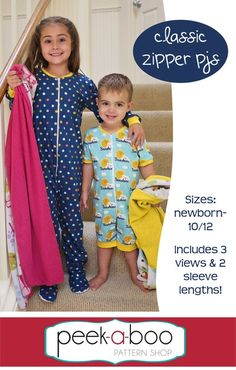 Classic Zipper PJs are the perfect pair of pajamas for anytime of year. This versatile sewing pattern includes footed pajamas, cuffed pajamas, 2 sleeve lengths and 2 leg lengths. Pattern includes an optional zipper shield to protect sensitive skin. Love Sewing, Sewing For Kids, Baby Sewing, Sewing Hacks, Sewing Tutorials, Sewing Tips, Sewing Ideas, Sewing Crafts, Vintage Sewing Patterns
