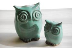 Ceramic owl home decor modern  Mint julip by claylicious on Etsy