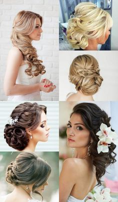Low buns and long curls for wedding hair ideas