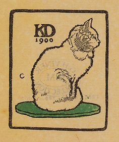 Bookplate for Kate (Kitty) Downing by Edward Gordon Craig, 1900    The kitten provides a punning subject for this bookplate for the wife of the antiquarian bookseller and publisher William Downing (1844-1910), who ran the Chaucer Head Bookshop in Birmingham from 1870
