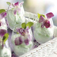 Thoroughly refreshing, and ever-so-interesting sounding Lime Sherbet with Candied Flowers. #summer #sherbet #lime #flowers #candied #food #dessert green #purple #wedding #elegant