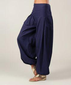 Aller Simplement Navy Flow Harem Pants - Women | zulily