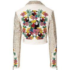 "leather jacket ""aloha"" PHILIPP PLEIN (17.620 RON) ❤ liked on Polyvore"