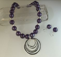 "Vintage glass purple beads, pewter with SS overlay pendant & hammered beads, magnetic clasp, 20.5"" length."