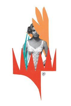 Nous aimons beaucoup Labloom de Natalie Born. Natalie Born a le goût des mélanges hauts en couleur. Cette œuvre est un délicieux métissage de vintage et de papiers collés colorés. On croirait cette femme tout droit sortie d'une publicité Dim ou Etam des années 60.  Même en sépia, elle est sexy en body ! Ces papiers collés nous rappellent les collages de Matisse. Cette technique se prête à merveille à une représentation colorée de la végétation. Cette œuvre délicate nous enchante par sa…