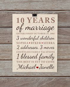 10 Year Anniversary Gift Wedding Anniversary Important Dates Family, Marriage Art Vintage Damask Neutral Brown, Tan, Beige
