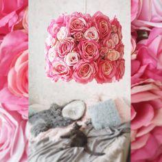 Lampa wisząca ręcznie wykonana ze sztucznych kwiatów🌺 Pink, Instagram, Pink Hair, Roses