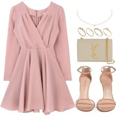 A fashion look from April 2017 featuring Stuart Weitzman sandals, Yves Saint Laurent clutches и ASOS rings. Browse and shop related looks. Komplette Outfits, Girly Outfits, Cute Casual Outfits, Polyvore Outfits, Stylish Outfits, Girls Fashion Clothes, Teen Fashion Outfits, Fashion Dresses, Fancy Clothes
