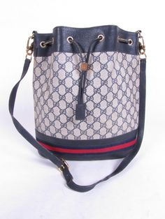 Your place to buy and sell all things handmade Vintage Bags, Vintage Gucci, Gucci Handbags, Timeless Fashion, Blue Stripes, Red And Blue, Bucket Bag, Crossbody Bag, Purses