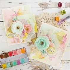 My Craft World: Watercolor cards with Prima Watercolor confections