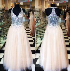 Gorgeous A-Line Prom Dresses,Hot Sale Charming Long Prom Dresses,Beading Prom Dresses,V-Neck Evening Dresses,Prom Dresses
