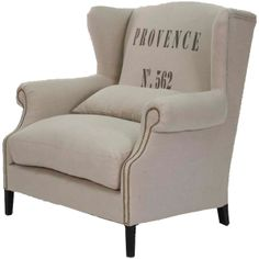 Provence Linen Wingback Chair ($1,695) found on Polyvore