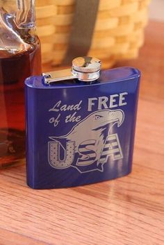 Stainless Steel Hip Flask for the patriotic person on your gift list. Can be personalized with Rank and name. Great for Fourth of July, Birthday, Christmas and more! #personalized #gifts #whiskey #military Personalized Gifts For Men, Personalized Tumblers, Engraved Gifts, Customized Gifts, Custom Gifts, Military Gifts, White Gift Boxes, Gift List, Groomsman Gifts