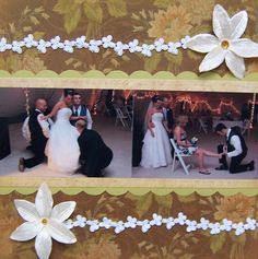 Just a simple 2 pager of the boquet and garter tosses. Wedding Album Layout, Wedding Scrapbook Pages, Scrapbook Designs, Scrapbooking Layouts, Bouquet Toss, Boquet, Garter Toss, Family Memories, Wedding Reception