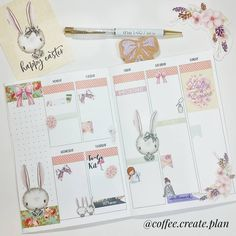 Easter week in my 1407 planners insert with stickers from Eclectically Emily.     See Instagram photos and videos from Michelle☕ (@coffee.create.plan)