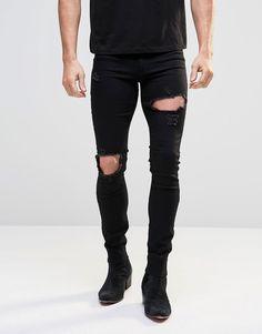 ASOS – Schwarze Jeans in Spray-Optik mit extremen Rissen
