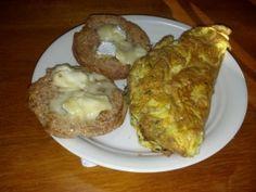 Breakfast 12/22/12 – Three eggs, one tbsp butter, Ezekiel English Muffin, brie cheese.