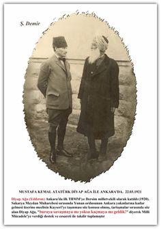 """MUSTAFA KEMAL ATATÜRK DİYAP AĞA İLE ANKARA'DA. 22.03.1921 Diyap Ağa (Yıldırım) Ankara'da ilk TBMM'ye Dersim milletvekili olarak katıldı (1920). Sakarya Meydan Muharebesi sırasında Yunan ordusunun Ankara yakınlarına kadar gelmesi üzerine meclisin Kayseri'ye taşınması söz konusu olmuş, tartışmalar sırasında söz alan Diyap Ağa, """"buraya savaşmaya mı yoksa kaçmaya mı geldik!"""" diyerek Milli Mücadele'ye verdiği destek ve cesareti ile takdir toplamıştır... Republic Of Turkey, The Republic, Turkish Army, The Turk, Hero, Ankara, Movie Posters, Heroes, Film Poster"""