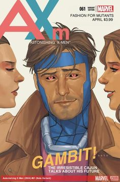 Astonishing X-Men #61 variant cover- An homage to men's fashion magazines of the 80's - Phil Noto
