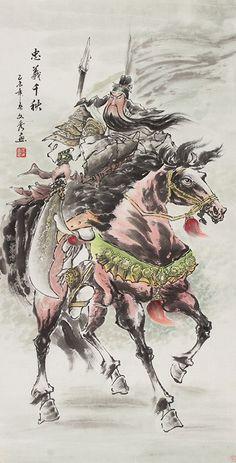 Art Traditional chinese painting Portrait GuanYu riding a horse Painting Japanese Painting, Chinese Painting, Ancient Japanese Art, Interesting Drawings, Chinese Artwork, Buddha Art, Classic Paintings, Traditional Paintings, Online Painting