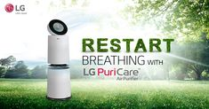 Breathe fresh like you're amidst nature! Restart breathing with Air Purifier at home that ensures clean & pure air, indoor. Cosmetic Design, Postcard Template, Advertising Design, Air Purifier, Conditioning, Breathe, Banner, Menu, Backyard