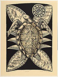 Title: Laumei Artist/creator: Michel Tuffery Production date: 1988 Medium: lithograph Dimensions: 674 x 465 mm Tapas, Auckland Art Gallery, Polynesian Art, New Zealand Art, Jr Art, Hawaiian Art, Madhubani Art, Turtle Painting, Maori Art