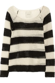 Striped open-knit wool and cashmere-blend sweater