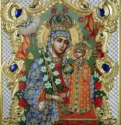 Religious Images, Religious Icons, Religious Art, Hail Mary, Art Icon, Orthodox Icons, Mother Mary, Virgin Mary, Salvia