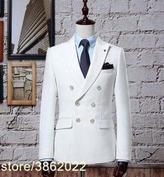Custom Made white men double breast Suit Retro gentleman Classic Men Slim Fit Wedding Suit (jacket+pants). Yesterday's price: US $230.00 (199.34 EUR). Today's price: US $124.20 (107.64 EUR). Discount: 46%.