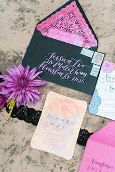 Black and radiant orchid Dia de los muertos wedding invitations | Dana Fernandez Photography | see more on: http://burnettsboards.com/2014/10/dia-de-los-muertos-wedding-inspiration-shoot/
