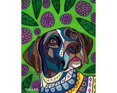 GSP German Shorthaired Pointer Art Dog Art by HeatherGallerArt