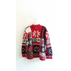 Vintage 1980s Crazy Horse Red White Snowflake Print Knit Henley Zipper Sweater Jacket Sz Large