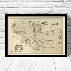 Middle Earth map print Vintage Style Map by ConsiderGraphics, $25.00