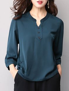 Autumn Spring Women Single Breasted Decorative Button Plain Long Sleeve Blouses … Autumn Spring Women […] The post Autumn Spring Women Single Breasted Decorative Button Plain Long Sleeve Blouses … appeared first on How To Be Trendy. Blouse Styles, Blouse Designs, Mode Outfits, Fashion Outfits, Ladies Fashion, Women's Fashion, Mode Hijab, Blouse Online, Shirt Blouses