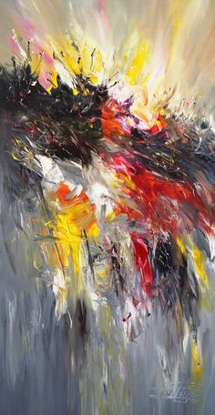Large abstract modern painting . Acrylic on canvas. Artist Peter Nottrott