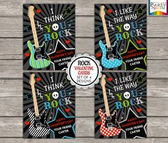 SPECIAL OFFER - Buy 2 Sets Get 1 FREE - Valentines Day Printable Cards - You Rock Guitars - Kids Personalized Digital Party Handouts on Etsy, $4.99