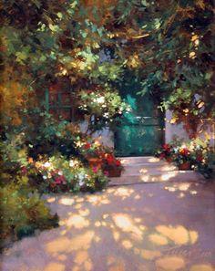 """The Gardner's Door Monet's Garden by Teresa Saia Oil ~ 16"""" x 12"""""""