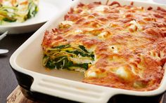 Spinach lasagne with white cheese and courgette