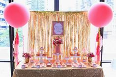 candy buffet - Pink and Gold 21st Birthday by Perfectly Sweet