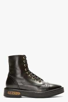 Versus Black Leather Ankle-high Boot for men