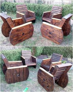 Wooden Pallet Furniture recycled pallet cable spool patio furniture - Pallets are not only good for reshaping purpose because they are easily available, but the main reason is they are neat in looks and they. Pallet Patio Furniture, Outdoor Furniture Plans, Office Furniture, Furniture Ideas, Antique Furniture, Luxury Furniture, Wooden Pallet Shelves, Wooden Pallets, Pallet Cabinet