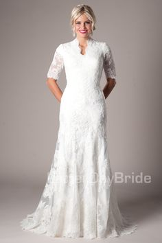 Modest Wedding Dresses :  Mormon LDS Temple Marriage - Sabrina  #LDSTemples #MormonTemples #Gospel