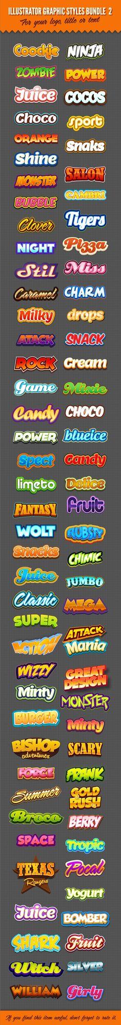 Illustrator Logo Graphic Text Styles Bundle For Adobe Illustrator Illustrator Design, Adobe Illustrator, Logo Design, Text Design, Game Design, Typography Logo, Typography Design, Logo Ad, Lettering