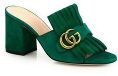 Gucci Marmont GG Kiltie Suede Block Heel Mules #Shoes
