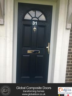 Elegant Black Composite Front Door With 2 Side Window Panels ...
