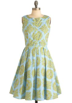 (LOVE this!) Made the Grade Dress - Long, Print, Buttons, Pleats, Sleeveless, Vintage Inspired, Yellow, Blue, Daytime Party, Cotton, Fit & Flare, Pastel, Top Rated