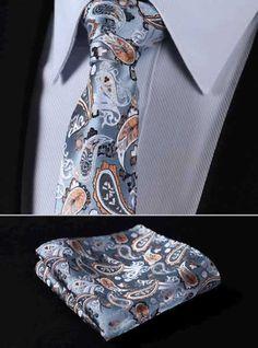 "TP810N7 Orange Gray skinny floral 2.75"" 100%Silk Woven Slim Skinny Narrow Men Tie Necktie Handkerchief Pocket Square Suit Set"