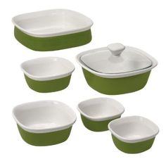 CorningWare Etch 7-Piece Bakeware Set,Grass: Amazon.com: Kitchen & Dining