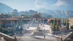 Fantasy City, Fantasy Castle, Fantasy Places, Fantasy World, Ancient Greek Architecture, Historical Architecture, Gothic Architecture, Fantasy Art Landscapes, Fantasy Landscape