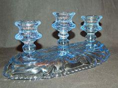 Vintage Blue Depression Glass 3 Candle Candleabra Holder
